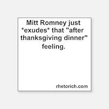 "Romney at Thanksgiving Square Sticker 3"" x 3"""