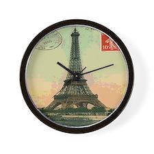 French Eiffel Tower Postcard Wall Clock