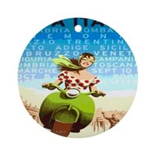 Vintage Viva Italy Travel Poster Round Ornament