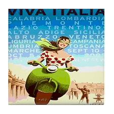 Vintage Viva Italy Travel Poster Tile Coaster