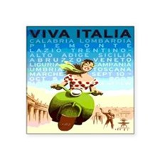 "Vintage Viva Italy Travel P Square Sticker 3"" x 3"""