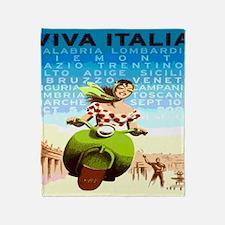 Vintage Viva Italy Travel Poster Throw Blanket