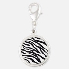 Zebra Animal Print Silver Round Charm
