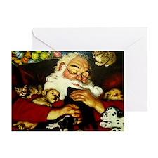 Santa And Puppies Print Greeting Card