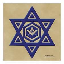 "Masonic Star of David Square Car Magnet 3"" x 3"""