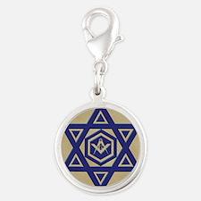 Masonic Star of David Silver Round Charm