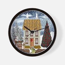 Irish Christmas Cottage Wall Clock