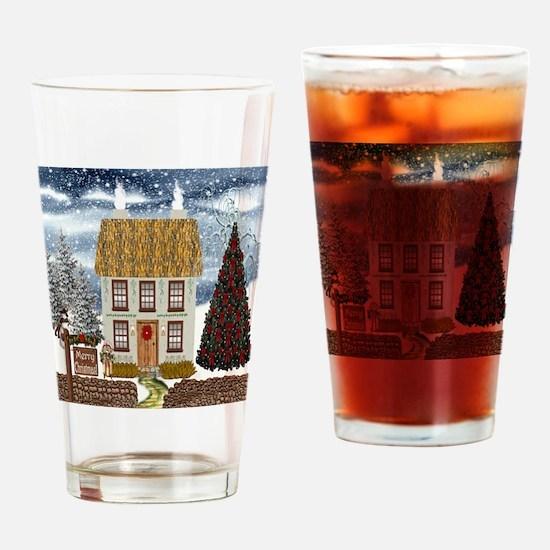 Irish Christmas Cottage Drinking Glass