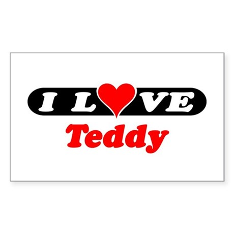 I Love Teddy Rectangle Sticker