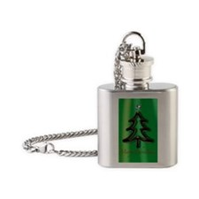 Christmas tree green background Flask Necklace