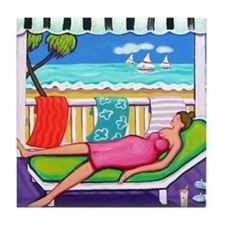 Seaside Siesta Beach Throw Pillow Tile Coaster
