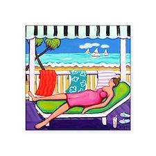 "Seaside Siesta Beach Throw  Square Sticker 3"" x 3"""