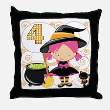 Girl Halloween 4 Throw Pillow