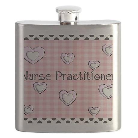 Nurse practitioner blanket Hearts pink Flask