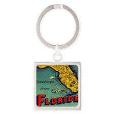 Vintage Florida Map Postcard Square Keychain