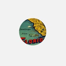 Vintage Florida Map Postcard Mini Button