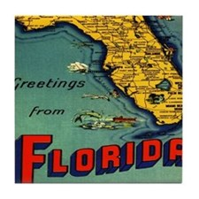 Vintage Florida Map Postcard Tile Coaster