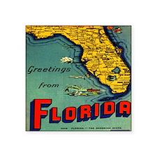 "Vintage Florida Map Postcar Square Sticker 3"" x 3"""