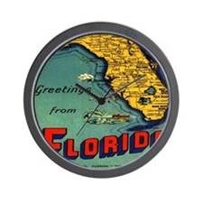 Vintage Florida Map Postcard Wall Clock