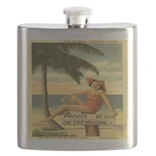 Vintage Private Beach Postcard Flask
