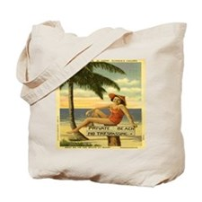 Vintage Private Beach Postcard Tote Bag