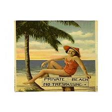Vintage Private Beach Postcard Throw Blanket