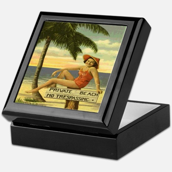 Vintage Private Beach Postcard Keepsake Box