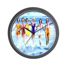 Florida Bathing Beauties Pillow Wall Clock