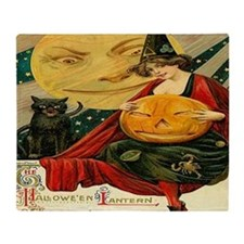 Vintage Halloween Witch Moon Cat Pos Throw Blanket