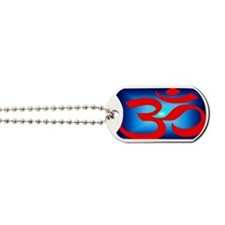 Yoga Amaste - red on blue Dog Tags