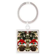 Pug Christmas flip flops Square Keychain