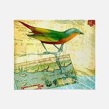 Vintage Bird Map Postcard Throw Blanket
