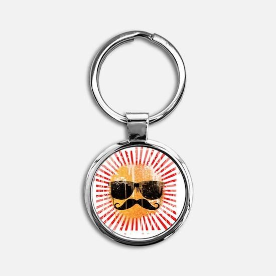 Hipster Sunshine Round Keychain