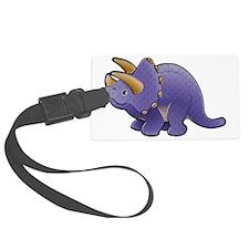 Purple Triceratops Dinosaur Luggage Tag