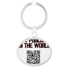Best Podcast in the world Scan Oval Keychain
