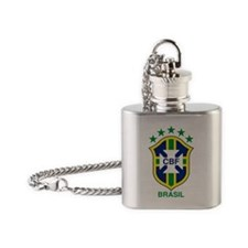 brazil soccer logo Flask Necklace