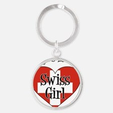 Everyone Loves Swiss Girl Round Keychain