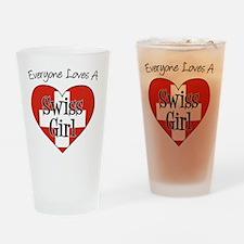 Everyone Loves Swiss Girl Drinking Glass