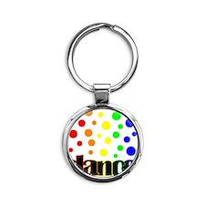 Small polka dots Round Keychain