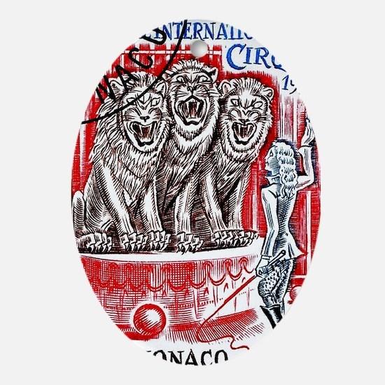 1978 Monaco Circus Lion Tamer Postag Oval Ornament