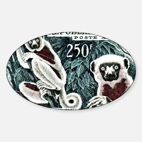 1961 Madagascar Lemur White Sifaka  Sticker (Oval)