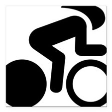 """Bicycle-Racer-A Square Car Magnet 3"""" x 3"""""""