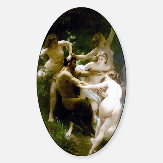William-Adolphe Bouguereau Nymphs a Sticker (Oval)