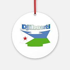Djibouti ribbon Ornament (Round)