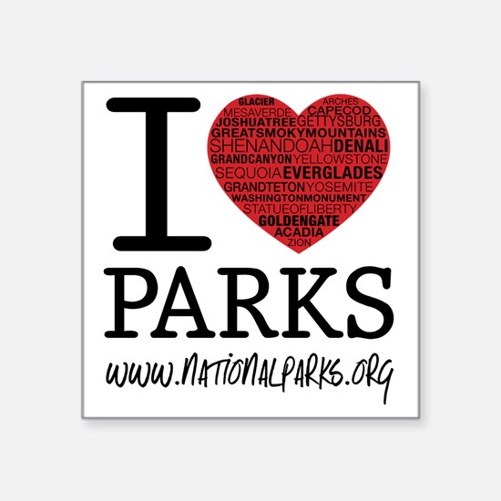 "heart parks Square Sticker 3"" x 3"""