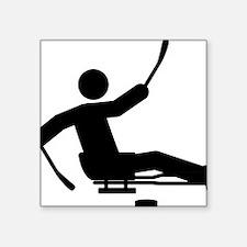 "Sled-Hockey-A Square Sticker 3"" x 3"""