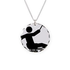 Sled-Hockey-A Necklace Circle Charm