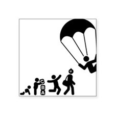 "Parachuting-E Square Sticker 3"" x 3"""