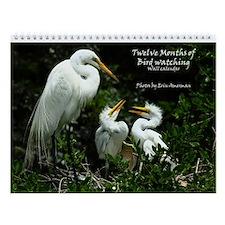 Twelve Months Of Bird Watching Wall Calendar