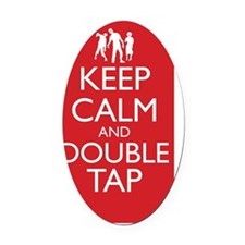 Keep Calm and Double Tap Wall Peel Oval Car Magnet